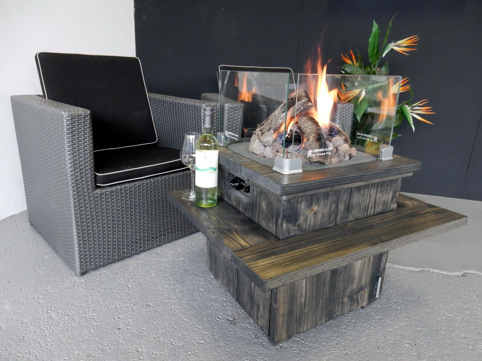 Tafel Met Haard : Steigerhouten loungetafel kibo vivencia vuur